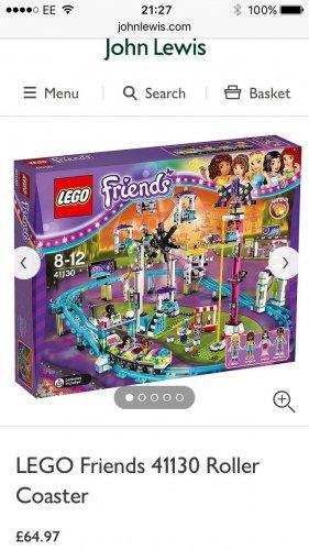 Lego friends 41130 Roller Coaster £64.97 delivered @ John Lewis