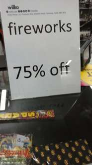 Wilko today only 75% off fireworks