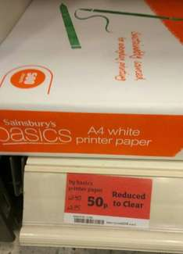 Basic A4 Printer Paper 500 Sheets 50p @ Sainsburys Instore