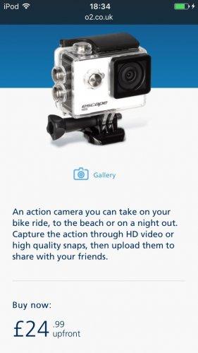 £24.99 Kitvision Action Camera Escape HD5 at o2