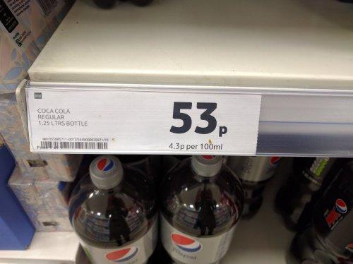 Coca Cola Regular 1.25L 53p @ Tesco