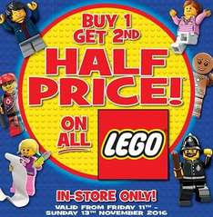 Buy 1 get 2nd half price on ALL Lego @ Toys R Us
