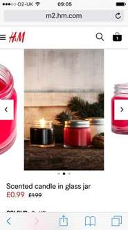 Small Scented Candle Jars £0.89 & Free Delivery with Code @ H&M