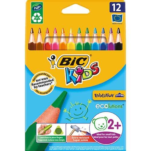 Bic Kids Ecolutions Evolution Triangle Colouring Pencils x 12 2+ , £1.50 half price at Wilko