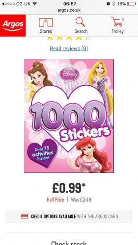 Disney princess sticker book 99p Argos