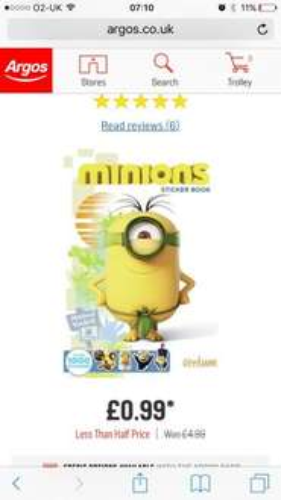 Minions sticker book 99p Argos
