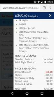 Bargain flights Manchester - Mauritius £260pp @ Thomson (hold luggage extra)