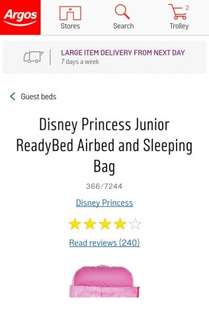 Disney Princess Junior ready bed reduced to £19.99 with FREE Disney princess watch Argos