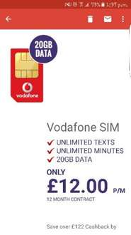 vodafone simo unlimited mins / texts - 20gb data £10 p/m 12 months Total £120