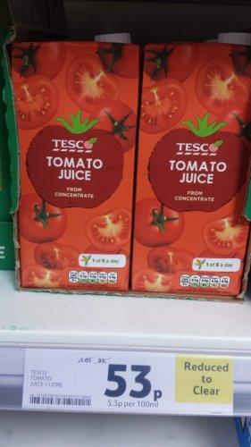 Tesco 1 litre tomato juice - was £1.05 now 53p