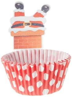 Holly Cupcakes Santa in the Chimney Cake Decorations and Festive Coloured Muffin Cases (Pack of 12) add on item £1.50 Amazon