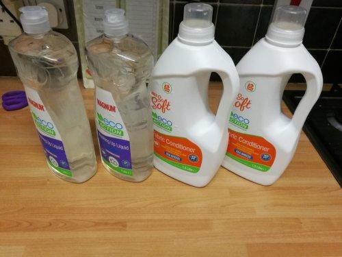 1l eco washing up liquid 59p, 42 washes eco fabric softener 69p reduced at Aldi