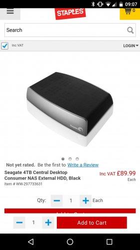 Seagate 4TB Central Desktop Consumer NAS External HDD, Black £89.99 Staples