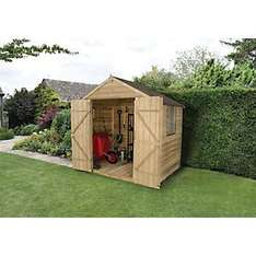 WICKES OVERLAP PRESSURE TREATED APEX SHED DOUBLE DOORS 7X5 CLICK AND COLLECT ONLY £199.00