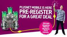 Plusnet mobile launching 29th November Pre-register for 4gb data, unlimited minutes and texts £10 pm 30 day contract.