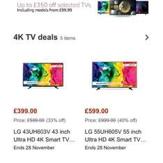 Up to £350 off selected TV's in Amazons Black Friday Deals from the 14th to 25th of November.