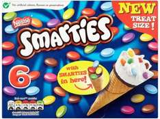 Nestle Smarties Ice Cream Cones (6 x 70ml) was £2.25 now only £1.00 at Tesco