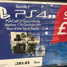PS4 1TB with COD & Tomb Raider instore at Tesco for £283.03