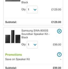 Samsung HW-K360 soundbar with WIRELESS sub AND Samsung SWA-8000S wireless rear speaker kit £178 delivered from AO.com