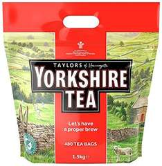Yorkshire Tea 480 bags was £10.99 now £8 (add on item / £20 spend) or £7.60 with 5% S&S discount @ Amazon  1.6/1.4p each bag.