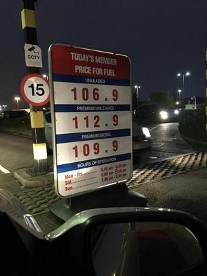 Costco fuel - 106.9p for Unleaded, 112.9 for Premium Unleaded and 109.9p for Premium Diesel