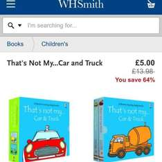 That's not my Car & Truck and That's not my Puppy and Kitten double packs only £5 @ WH Smith online and instore. Free delivery to store for online orders.