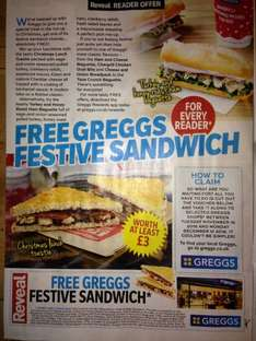 Buy REVEAL Magazine (99p) Voucher (Valid 15/11/2016 - 12/12/2016) for FREE Oval Bite/Baguette or Festive Sandwich/Toastie (read OP for full list - worth at least £3) @ Greggs