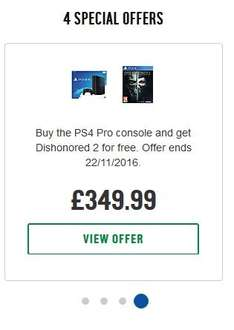 PS4 Pro 1TB + Free Dishonored 2 + £10 voucher - £349.99 at Argos