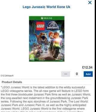 Lego Jurassic World Xbox One £12.34 @ Tesco Groceries online
