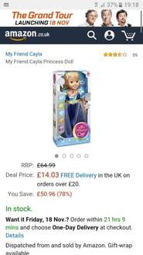 my friend cayla princess doll £14.03 Prime / £18.78 Non Prime @ Amazon