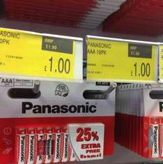 X10 Panasonic batteries AA or AAA for only £1 @ B&M