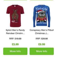 Christmas jumpers £6.99 and t.shirts £5.99 from zavvi.com usually a lot more this time of year