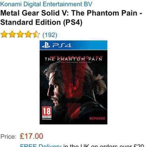 Metal Gear Solid V: The Phantom Pain - PS4 £17 (Prime) / £18.99 (non Prime) @ Amazon