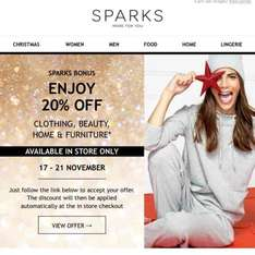 M&S 20% OFF CLOTHING, BEAUTY, HOME & FURNITURE IN STORE ONLY 4 DAYS TO USE