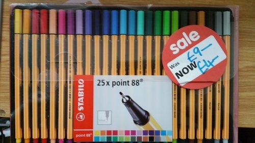 Stabilo 25 pk Fineliner £4 & Stabilo 24 pk Watercolor Pencil £1 @ Asda Ware instore
