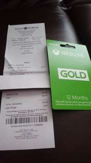 xbox live membership £34.99 Currys