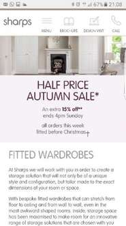 Half price Autumn sale with an extra 15% off @ Sharps.co.uk (ends 4pm Sunday)