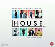 House - Complete Collection Seasons 1-8 [Blu-ray] [2004] [Region Free] £34.99 including Free Delivery @ Amazon