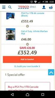 Tesco Direct PS4 Pro 1TB with either Call of Duty Infinite Warfare or Dishonored 2 £352.49 (£299.62 including quidco cashback)