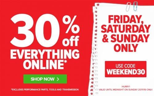 EuroCarParts 30% weekend sale Fri, Sat & Sun Use Code WEEKEND30