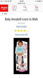 Learn to walk baby annabell at argos
