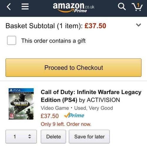 Call of Duty. infinite warfare legacy edition PS4 - £37.50 @ Amazon Warehouse