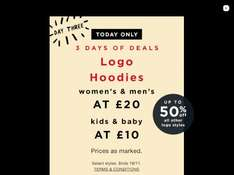 Men's & Women's Logo Hoodies for £20 and kids and baby for £10 at GAP - 18th November only