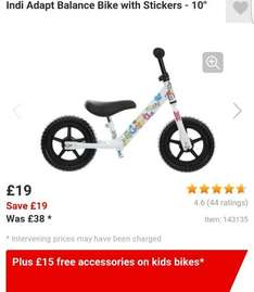 Indi Adapt Balance Bike £19 with £15 worth of FREE accessories when you *C&C* at Halfords