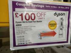 Costco Derby £239.98 cheaper than John Lewis and Argos for Dyson Hot & Cool Fan Heater AM09