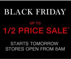 Matalan black Friday sale - 1/2 Price items - Starts 8am 19/11