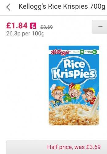 Kellogg's Rice Krispies 700g @ ocado only 1.84