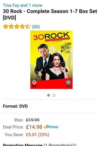 30 Rock - Complete Season 1-7 DVD Box Set £14.98 (Prime) / £17.97 (non Prime) @ Amazon