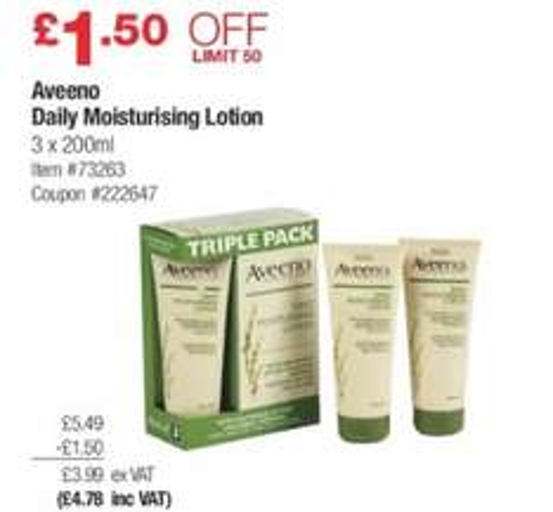 Aveeno Daily Moisturising Lotion 3x200ml @ Costco for £4.78 each £1.59