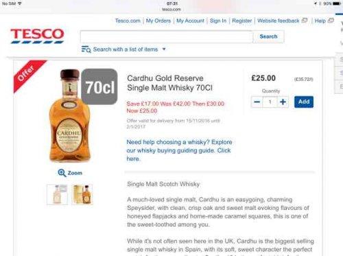 Cardhu gold reserve single malt whiskey £25 at Tesco